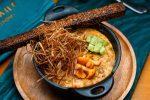 Жульен из лисичек с кедровыми орехами и луковым сеном