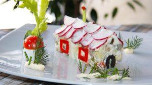 Рецепт салата Оливье с цесаркой фото пошаговый