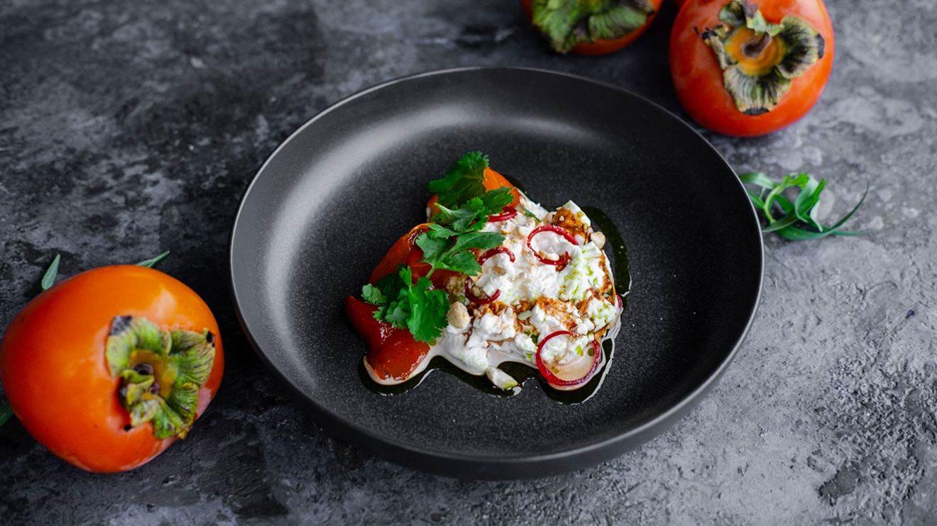 Сливочная буратта с пряной хурмой пошаговый рецепт шеф повара ресторана фото