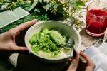 Сливочный десерт с желе из кервеля и гранитой из щавеля