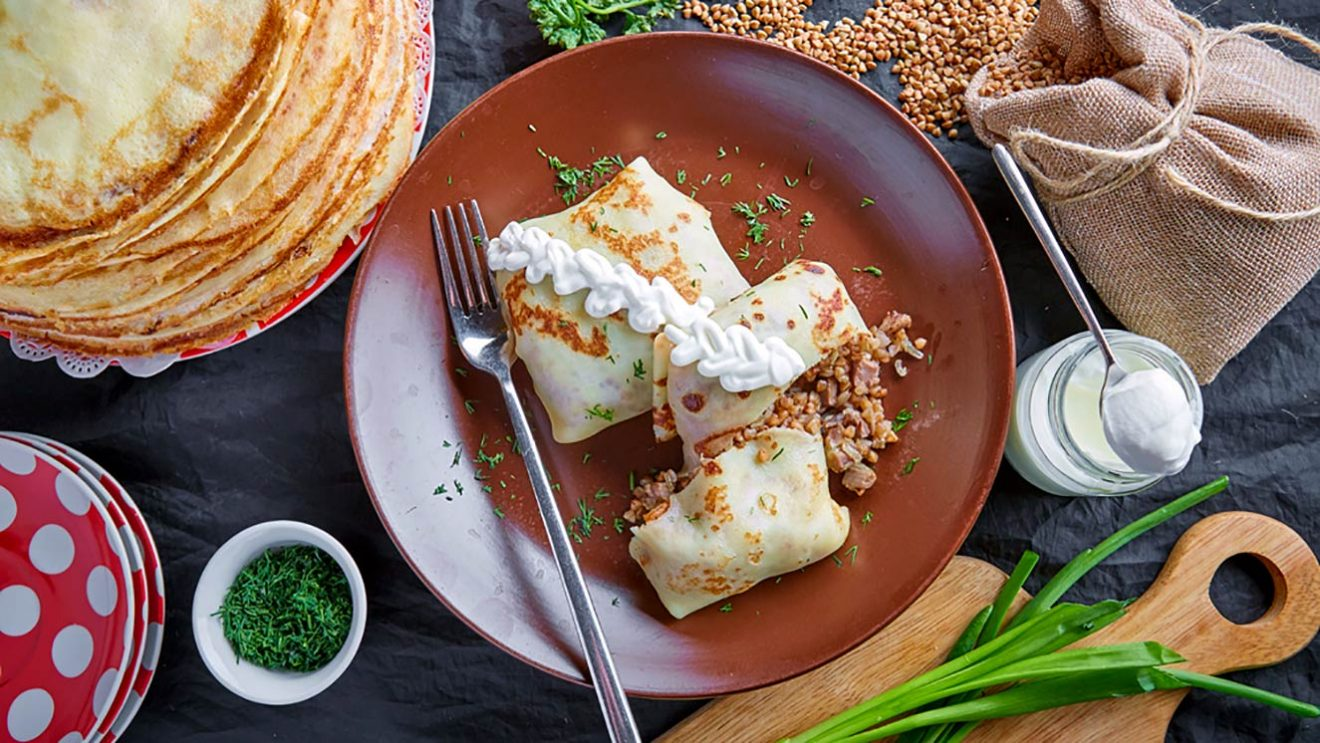 рецепт 1 блинов с гречкой и курирными потрохами печень желудки сердечки фото