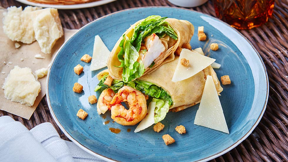 Рецепт блина с креветками из ресторана Магадан пошаговый шеф повар