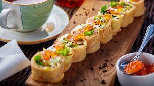 Рецепт блинов с лососем и икрой фото