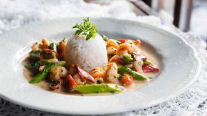 Рецепт Царская охота _ Креветки со спаржей и ароматным рисом